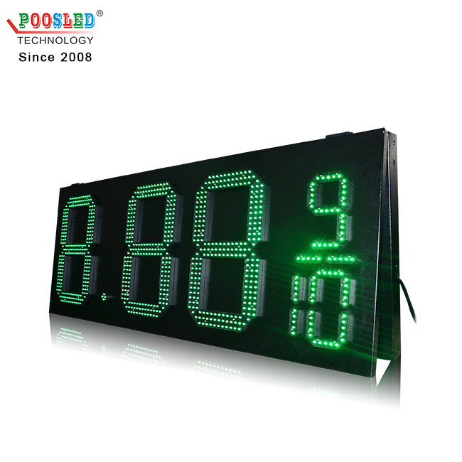 High Cost Performance Outdoor IP53 Green 15'' 8.88 9/10 Gas Station Led Sign