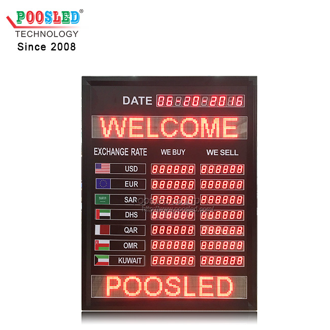 Multiple Function Led Exchange Rate Board With Led Scrolling Sign