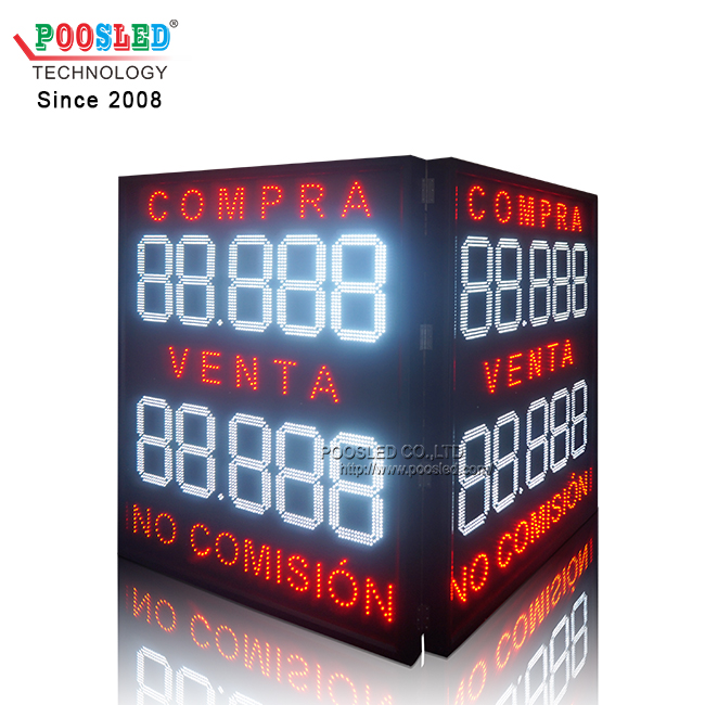 15 Inches White Led Digits Sign Large Size Outdoor Using Exchange Rate Board