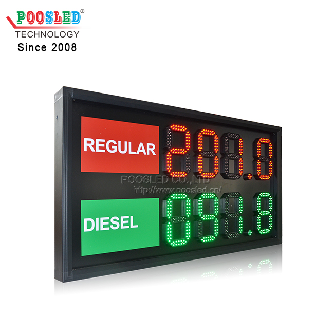 "Light Weight 8"" LED Gas Price Sign Display The Price of Regular & Diesel Indoor Using"